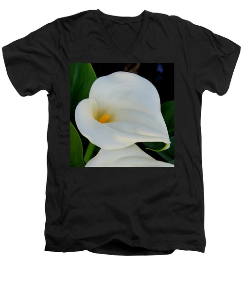White Cala Lily Men's V-Neck T-Shirt