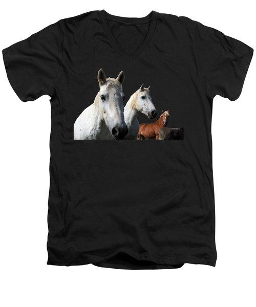 White Camargue Horses On Black Background Men's V-Neck T-Shirt