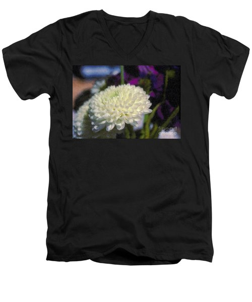 Men's V-Neck T-Shirt featuring the photograph White Chrysanthemum Flower by David Zanzinger