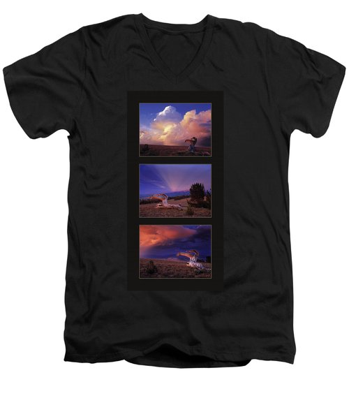 White Clouds Triptych Men's V-Neck T-Shirt