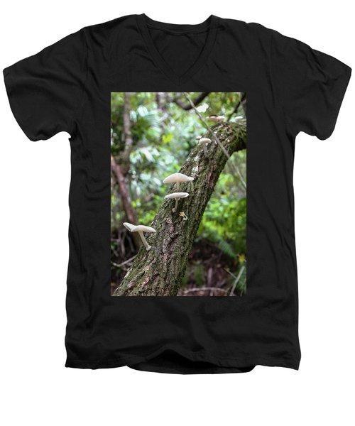 White Deer Mushrooms Men's V-Neck T-Shirt