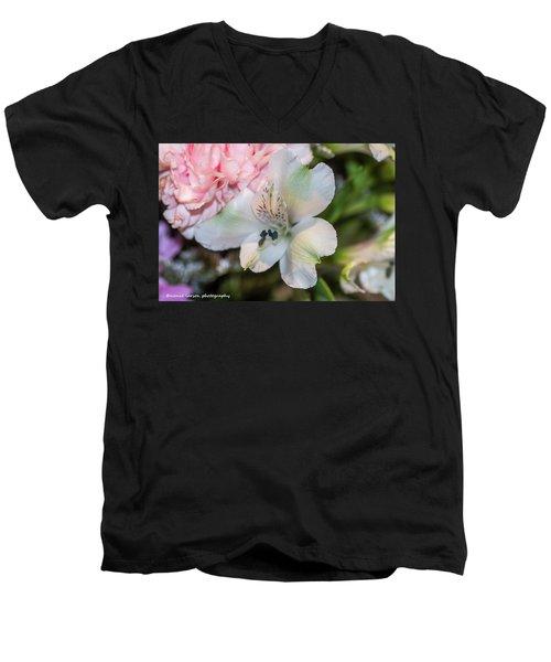White Flower Men's V-Neck T-Shirt by Nance Larson