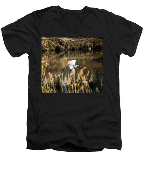 White Heron Men's V-Neck T-Shirt