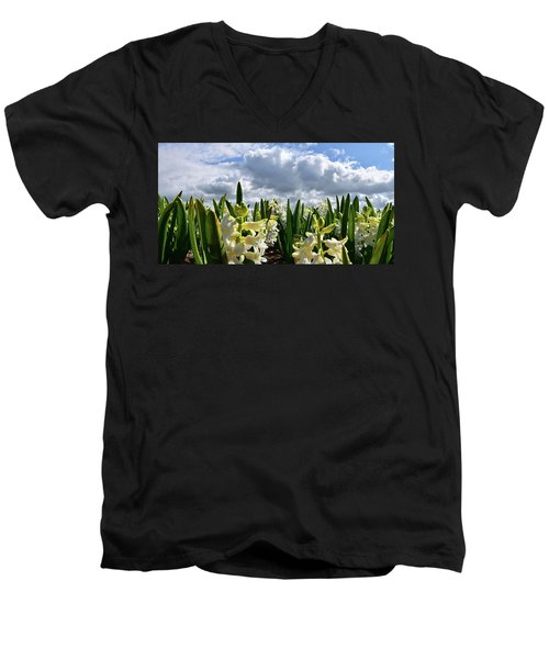 White Hyacinth Field Men's V-Neck T-Shirt by Mihaela Pater