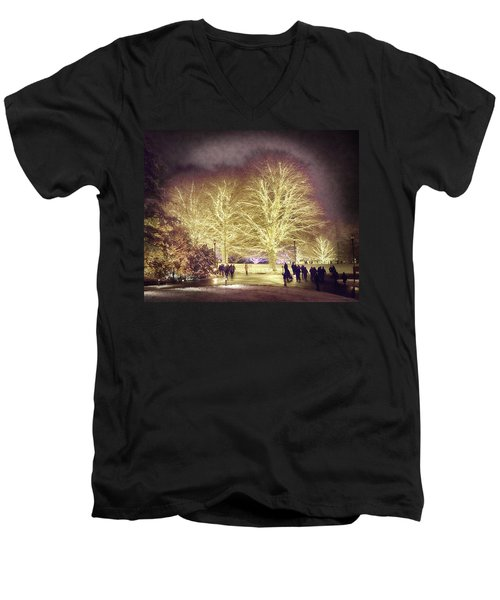 Men's V-Neck T-Shirt featuring the photograph White Light Christmas by Phil Abrams