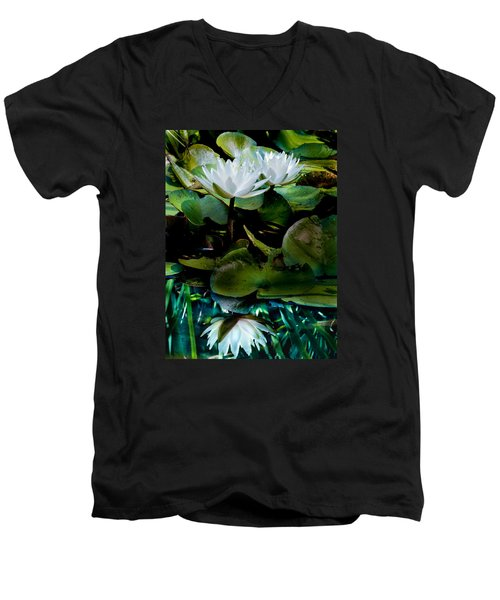 White Lilies, White Reflection Men's V-Neck T-Shirt