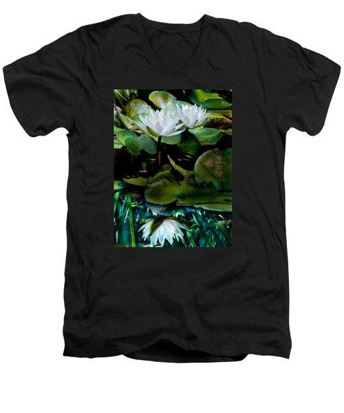 White Lilies, White Reflection Men's V-Neck T-Shirt