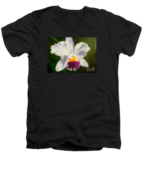 Men's V-Neck T-Shirt featuring the painting White Orchid by Jenny Lee
