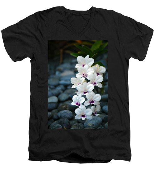 Men's V-Neck T-Shirt featuring the photograph White Orchids by Debbie Karnes