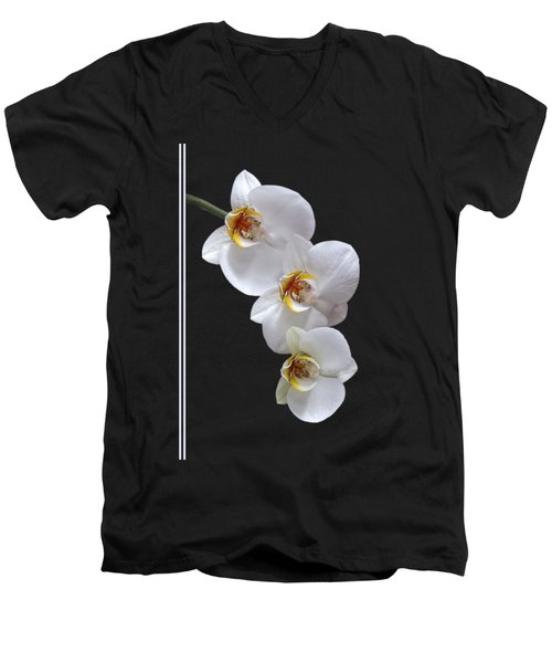 White Orchids On Black Vertical Men's V-Neck T-Shirt