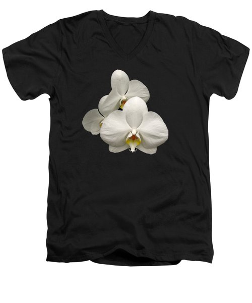 White Orchids Men's V-Neck T-Shirt by Rose Santuci-Sofranko