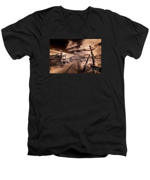 White Pocket Corral Men's V-Neck T-Shirt by William Fields