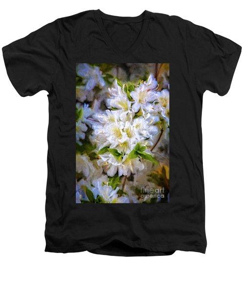 White Rhododendron Men's V-Neck T-Shirt