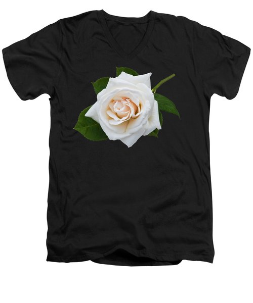 Men's V-Neck T-Shirt featuring the photograph White Rose by Jane McIlroy