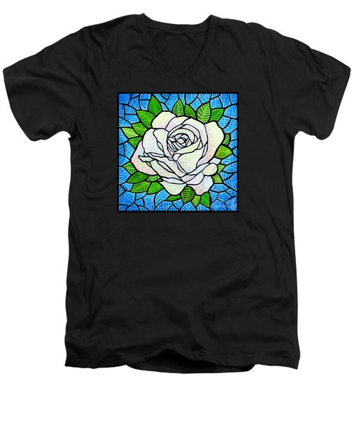 Men's V-Neck T-Shirt featuring the painting White Rose  by Jim Harris