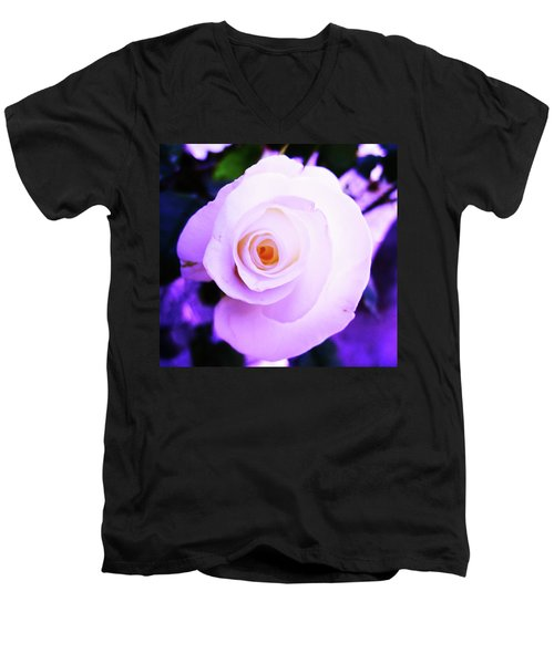 White Rose Men's V-Neck T-Shirt by Mary Ellen Frazee