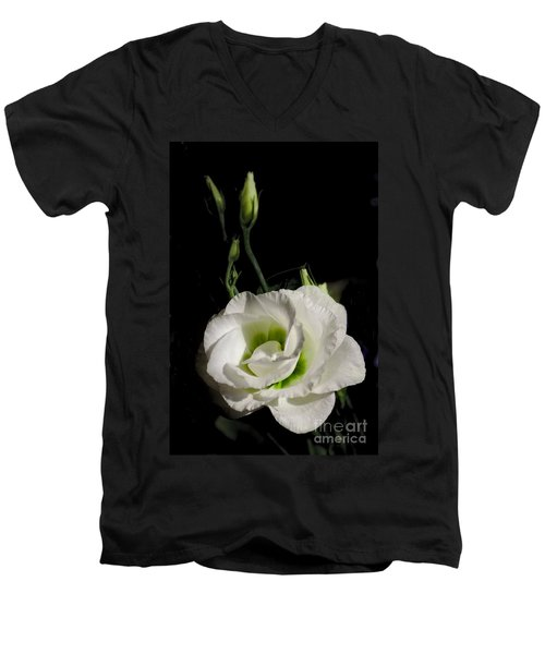 White Rose On Black Men's V-Neck T-Shirt