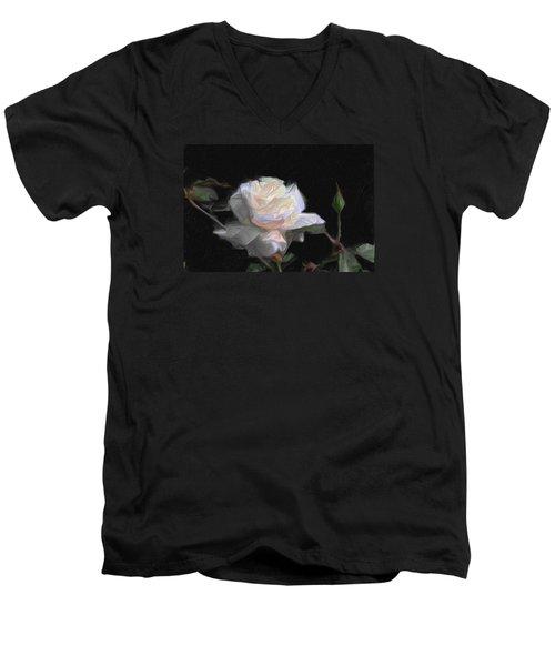 White Rose Painting Men's V-Neck T-Shirt by Don  Wright
