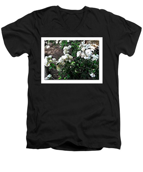Men's V-Neck T-Shirt featuring the photograph White Roses by Joan  Minchak