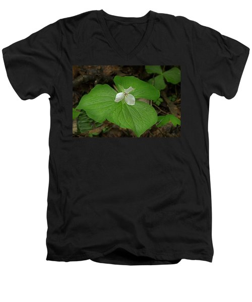 Men's V-Neck T-Shirt featuring the photograph White Spring Trillium by Mike Eingle