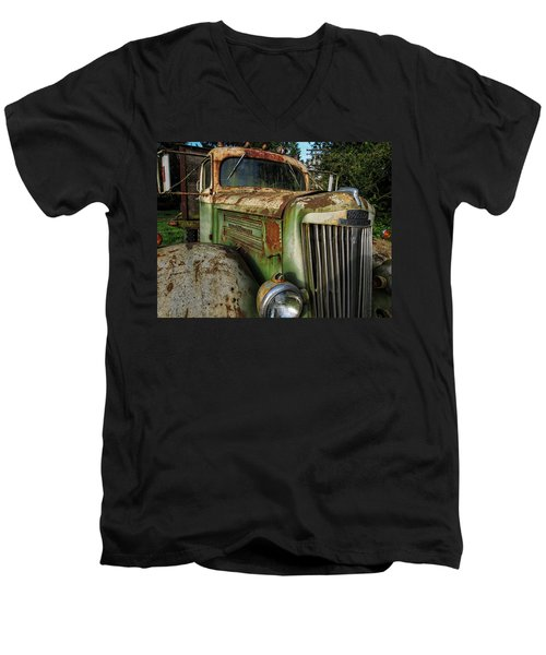 White Super Power Truck Men's V-Neck T-Shirt