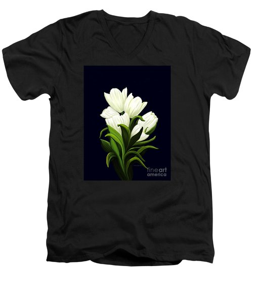 Men's V-Neck T-Shirt featuring the painting White Tulips by Patricia Griffin Brett