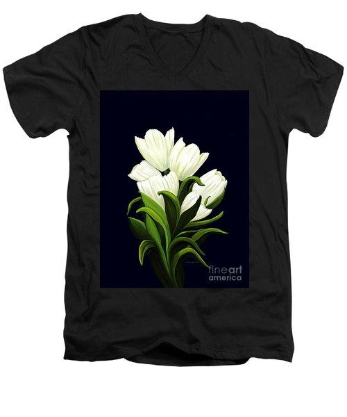 White Tulips Men's V-Neck T-Shirt