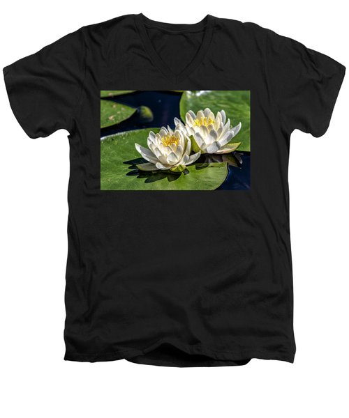 White Water Lilies Men's V-Neck T-Shirt