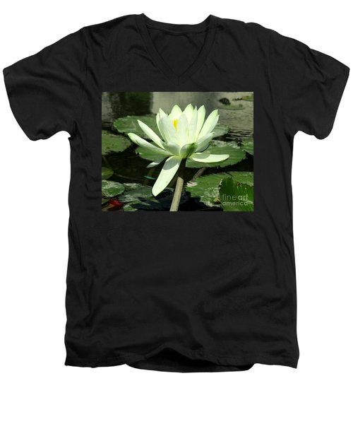 Men's V-Neck T-Shirt featuring the photograph White Water Lily 1 by Randall Weidner