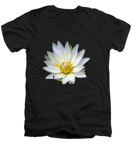 White Waterlily With Dewdrops Men's V-Neck T-Shirt by Rose Santuci-Sofranko