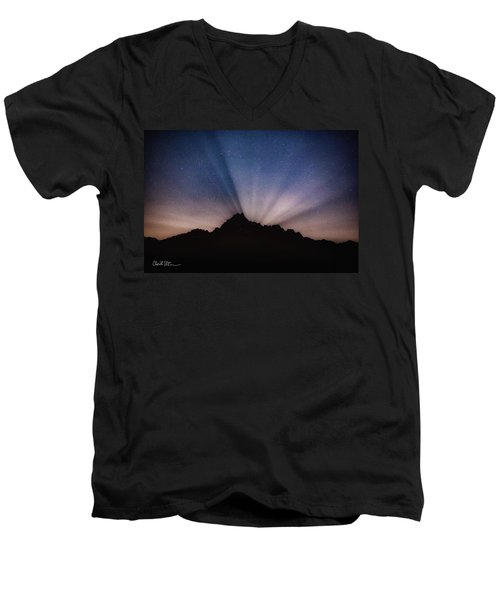 Whitehorse Mountain Moon Rays Men's V-Neck T-Shirt