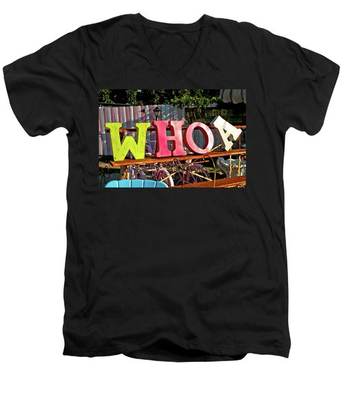 Whoa Men's V-Neck T-Shirt by Toni Hopper
