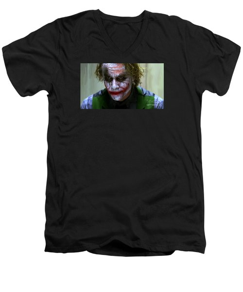 Why So Serious Men's V-Neck T-Shirt by Paul Tagliamonte