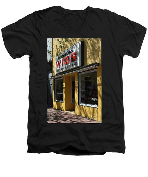 Men's V-Neck T-Shirt featuring the photograph Wigs by Skip Willits