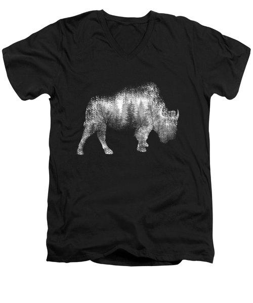 Wild Bison Men's V-Neck T-Shirt by Diana Van