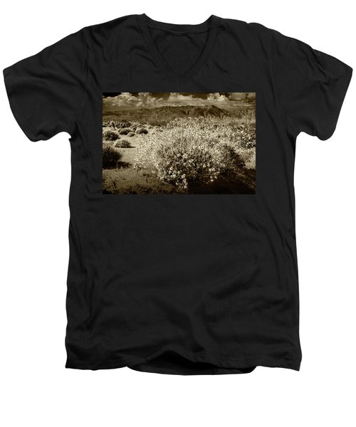 Men's V-Neck T-Shirt featuring the photograph Wild Desert Flowers Blooming In Sepia Tone  by Randall Nyhof