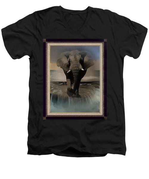 Wild Elephant Montage Men's V-Neck T-Shirt