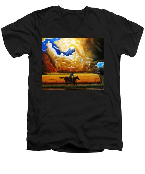 Men's V-Neck T-Shirt featuring the painting Wild Fire  by Gene Gregory