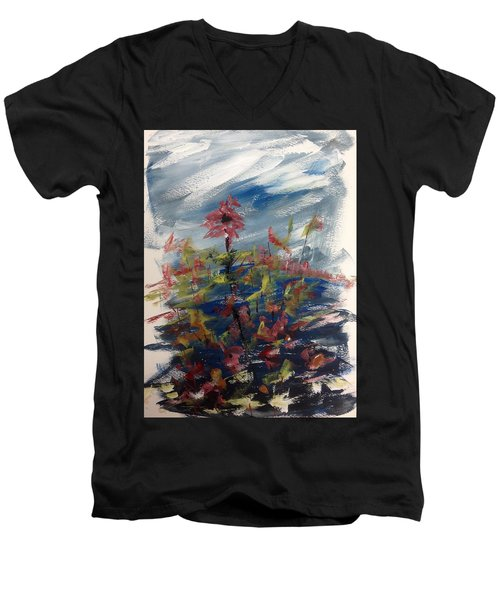 Wild Flowers On An Overcast  Day Men's V-Neck T-Shirt