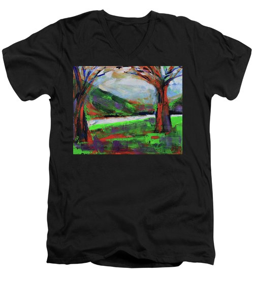Men's V-Neck T-Shirt featuring the painting Wild Flowers On The River Banks by Walter Fahmy