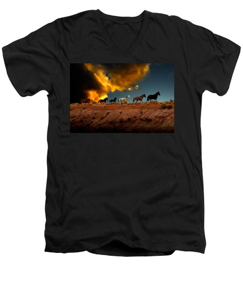 Men's V-Neck T-Shirt featuring the photograph Wild Horses At Sunset by Harry Spitz