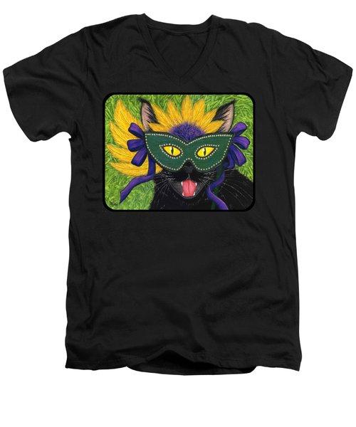 Wild Mardi Gras Cat Men's V-Neck T-Shirt