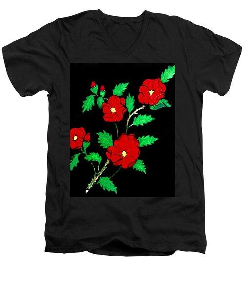 Wild Red Roses Men's V-Neck T-Shirt