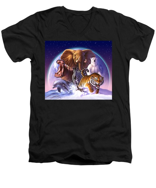 Wild World Men's V-Neck T-Shirt by Jerry LoFaro