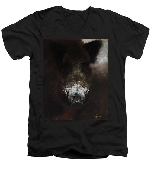 Wildboar With Snowy Snout Men's V-Neck T-Shirt