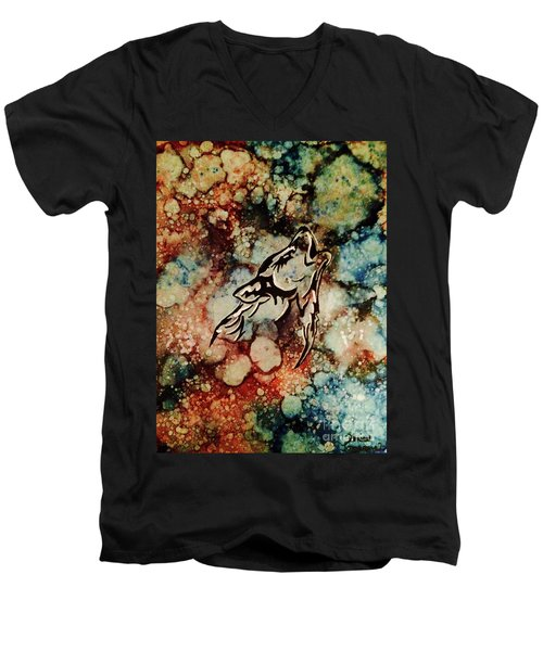 Men's V-Neck T-Shirt featuring the painting Wilderness Warrior by Denise Tomasura