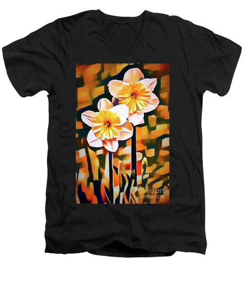 Wildly Abstract Daffodil Pair Men's V-Neck T-Shirt