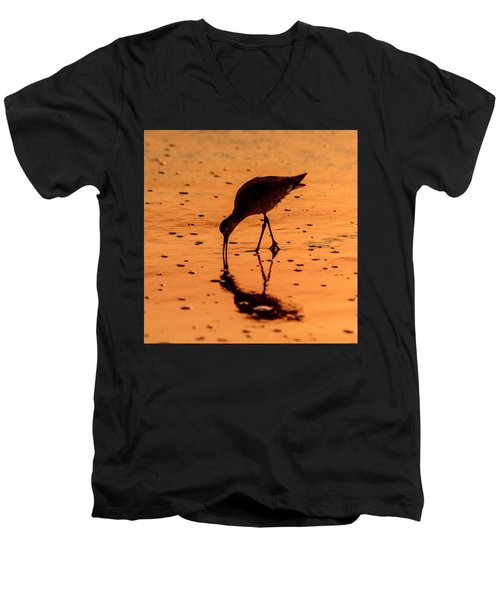 Men's V-Neck T-Shirt featuring the photograph Willet On Sunrise Surf by Steven Sparks