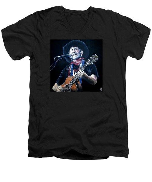 Willie Nelson 2 Men's V-Neck T-Shirt by Tom Carlton