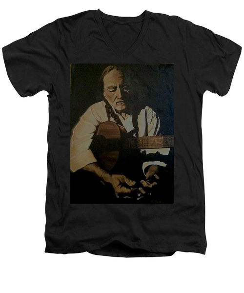 Willie Nelson Men's V-Neck T-Shirt by Ashley Price